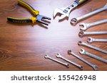 set of tools on the wooden desk | Shutterstock . vector #155426948
