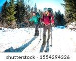 Two Women In A Winter Hike....