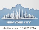 manhattan new york city with... | Shutterstock .eps vector #1554297716
