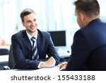 happy business people talking... | Shutterstock . vector #155433188