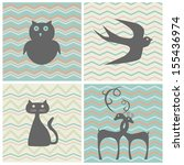 set of retro patterns with... | Shutterstock .eps vector #155436974