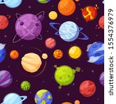 planets in outer space cartoon...   Shutterstock .eps vector #1554376979