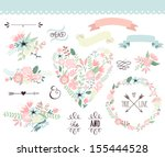 Wedding graphic set, wreath, flowers, arrows, hearts, laurel, ribbons and labels. - stock vector