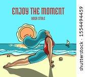 woman practicing the upward... | Shutterstock .eps vector #1554494459