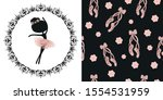 black silhouette and pink tutu...   Shutterstock .eps vector #1554531959