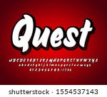 simple retro brush font with...   Shutterstock .eps vector #1554537143