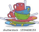 dirty dishes vector art and...   Shutterstock .eps vector #1554608153