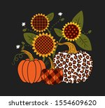 Pumpkins And Sunflowers With...