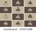set of business cards on the... | Shutterstock .eps vector #155471288