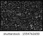 hand drawn set of healthy food... | Shutterstock . vector #1554762650