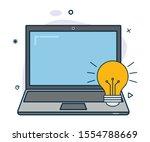 vector laptop icon with idea...