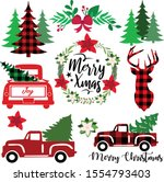 Buffalo Plaid Truck Vector...