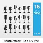 set of vine cups  | Shutterstock .eps vector #155479490