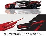 car decal wrap design vector.... | Shutterstock .eps vector #1554855446