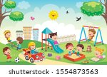 children playing in the park | Shutterstock .eps vector #1554873563