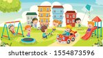 children playing in the park | Shutterstock .eps vector #1554873596