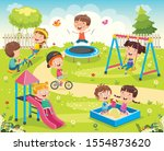 children playing in the park | Shutterstock .eps vector #1554873620