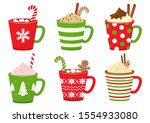 winter christmas cups with... | Shutterstock .eps vector #1554933080