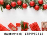 christmas composition made of... | Shutterstock . vector #1554953513