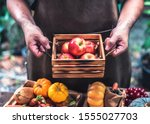 Farmer With Fresh Fruit On...