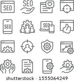 seo icons set vector... | Shutterstock .eps vector #1555064249