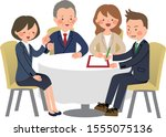 team discussing project in... | Shutterstock .eps vector #1555075136
