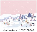 vector illustration of winter... | Shutterstock .eps vector #1555168046
