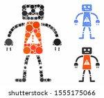 robot danger mosaic of small... | Shutterstock .eps vector #1555175066