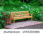 Wooden Bench With Trash Bin For ...