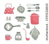 Cute Kitchen Set In Red And...