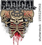 aggressive emblem with skull ... | Shutterstock .eps vector #1555229543