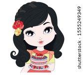 beautiful girl holding her... | Shutterstock .eps vector #1555249349