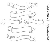 cute ribbon doodle set hand... | Shutterstock .eps vector #1555261490