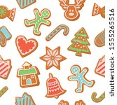 christmas gingerbread cookies... | Shutterstock .eps vector #1555265516
