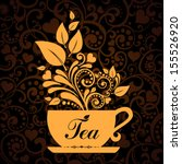 cute tea time card. cup with... | Shutterstock .eps vector #155526920