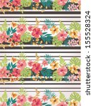 stripe mix tropical flower... | Shutterstock .eps vector #155528324