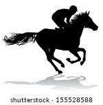jockey riding on horseback.... | Shutterstock . vector #155528588