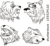 aggressive bear heads. set of... | Shutterstock .eps vector #155529110