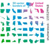 50 vector borders of United States of America in one  with names and map of the country - stock vector