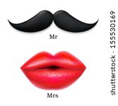 moustaches with lips  with... | Shutterstock .eps vector #155530169