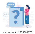 question mark on document.... | Shutterstock .eps vector #1555309970