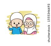 the cute moslem old couple   Shutterstock . vector #1555346693