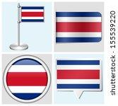 costa rica flag   set of... | Shutterstock . vector #155539220