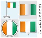 cote d'ivoire flag   set of... | Shutterstock . vector #155539229