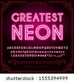bright neon alphabet letters ... | Shutterstock . vector #1555394999