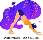 illustrations for yoga  fitness ... | Shutterstock .eps vector #1555432403