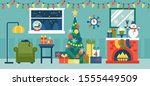 cozy christmas holiday... | Shutterstock .eps vector #1555449509