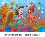 mermaid and sea life ii | Shutterstock . vector #155545514