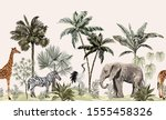 tropical vintage botanical... | Shutterstock .eps vector #1555458326