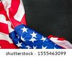 American Flags On Black Wood...
